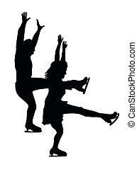 silhouette, coppia, pattinatore ghiaccio, fronte, calcio