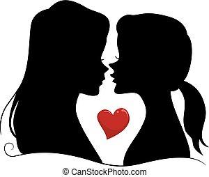 silhouette, coppia, ragazze, lesbica, illustrazione