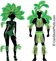 silhouette, coppia, verde, carnevale