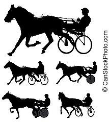 silhouette, corsa, trotters