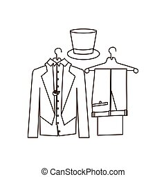 silhouette costume formal suit with hat groom