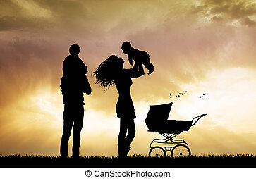 silhouette, coucher soleil, famille