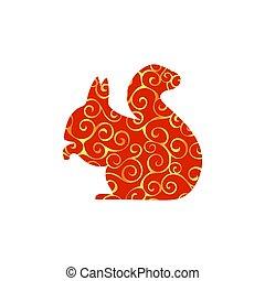 silhouette, couleur écureuil, rongeur, animal, mammifère