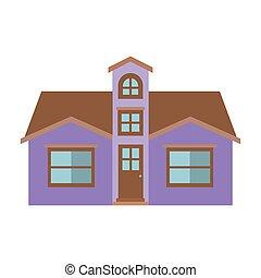 silhouette, couleur, lumière, grenier, maison, façade