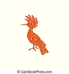 silhouette, couleur, modèle, hoopoe, spirale, animal, oiseau