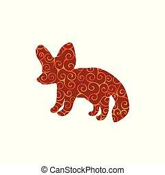 silhouette, couleur, modèle, renard, spirale, animal., fennec
