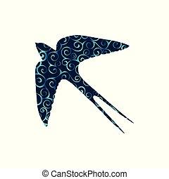 silhouette, couleur, modèle, spirale, animal., hirondelle, oiseau