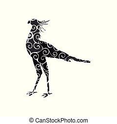 silhouette, couleur, modèle, spirale, animal., oiseau, secrétaire