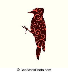 silhouette, couleur, modèle, spirale, animal, pic, oiseau