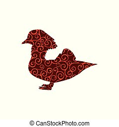 silhouette, couleur, modèle, spirale, mandarin, animal., oiseau