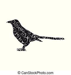 silhouette, couleur, modèle, spirale, pie, animal, oiseau