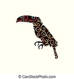 silhouette, couleur, modèle, spirale, toucan, animal, oiseau
