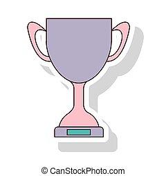 silhouette, couleur pastel, de, trophée, tasse, à, ombre