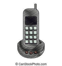 silhouette, couleur, téléphone sans fil, crayon, raie