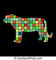 silhouette, couleur, tigre, animal, oiseau, wildcat