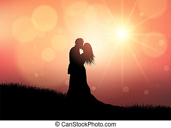 silhouette, couple, 0709, coucher soleil, fond, mariage