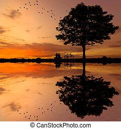 silhouette, couple, arbre