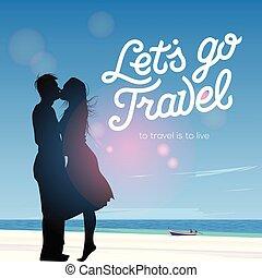 silhouette, couple, contre, voyage, laissons, fond, vecteur, illustration, baisers, aller, amour, plage, vue