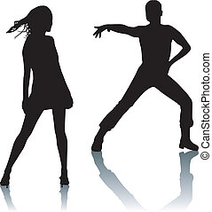 Silhouette couple dance