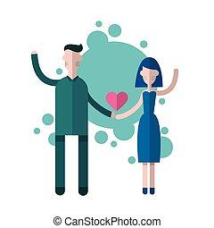 Silhouette Couple Holding Hands Heart Shape Love Valentine