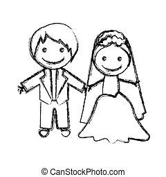 silhouette, couple, mariés, brouillé, dessiné, main