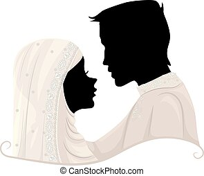Silhouette Couple Muslim Wedding Illustration