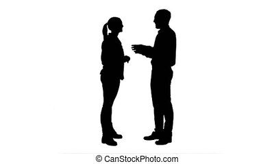 Silhouette Couple of lovers stand, talk, laugh. 076s. You...