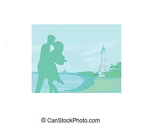 silhouette couple on tropical beach
