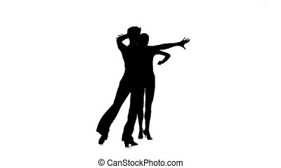 Silhouette couple professional dancers perform rumba. White...