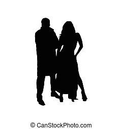 silhouette, couple, vecteur, noir