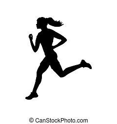 silhouette, coureur, athlète, santé, fitness, girl, sport