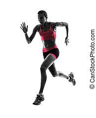 silhouette, coureur, joggeur, courant, femme, jogging