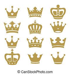 silhouette, couronne, vecteur, -, collection
