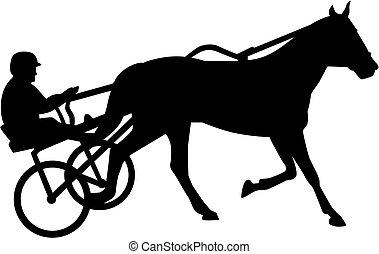 silhouette, course harnais