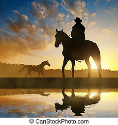 silhouette, cow-boy, à, cheval
