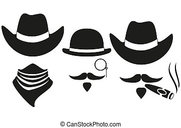 silhouette, cow-boy, avatars, 3, noir, blanc