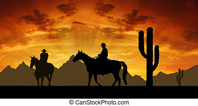 silhouette, cowboy, con, cavalli
