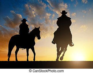 silhouette, cowboy, met, paarde