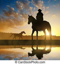 silhouette, cowboy, mit, pferd