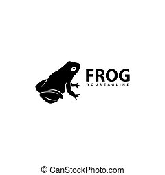 silhouette, créatif, conception, grenouille, logo, vecteur