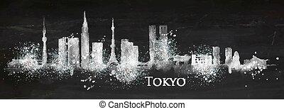 silhouette, craie, tokyo