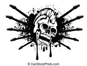 silhouette, cranio, chitarre