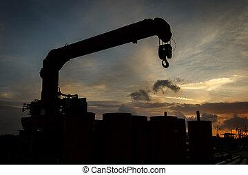 silhouette, crochet, coucher soleil, temps, petit, grue