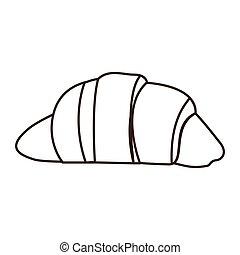 silhouette croissant bread icon food