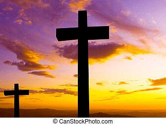 silhouette, croix