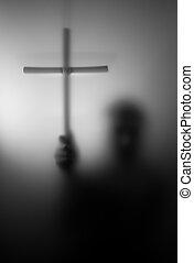 silhouette, croix, saint