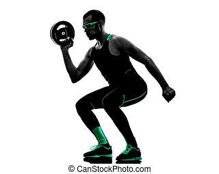 silhouette, crossfit, gewicht, fitness, übungen, scheibe, mann