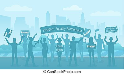 Silhouette crowd of people protesters. Protest, revolution, conflict on city street. Civil demonstration flat vector illustration.