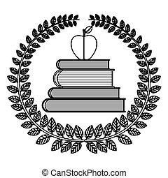 silhouette crown of leaves with school books with apple