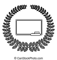 silhouette crown of leaves with school slate vector...